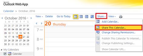 OWA Share Calendar