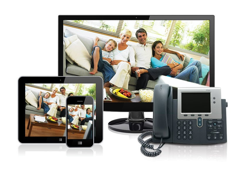 family on devices tv tablet smartphone landline phone