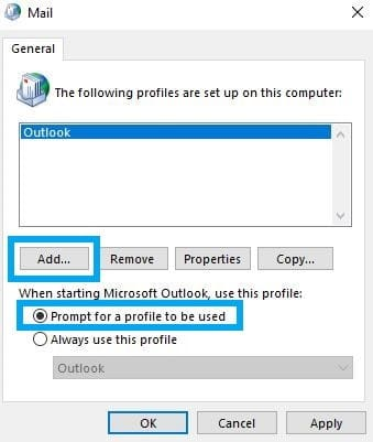 add profiles button outlook