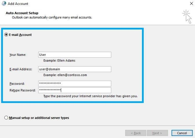 outlook add account settings