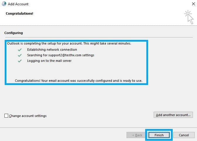 outlook configuration complete